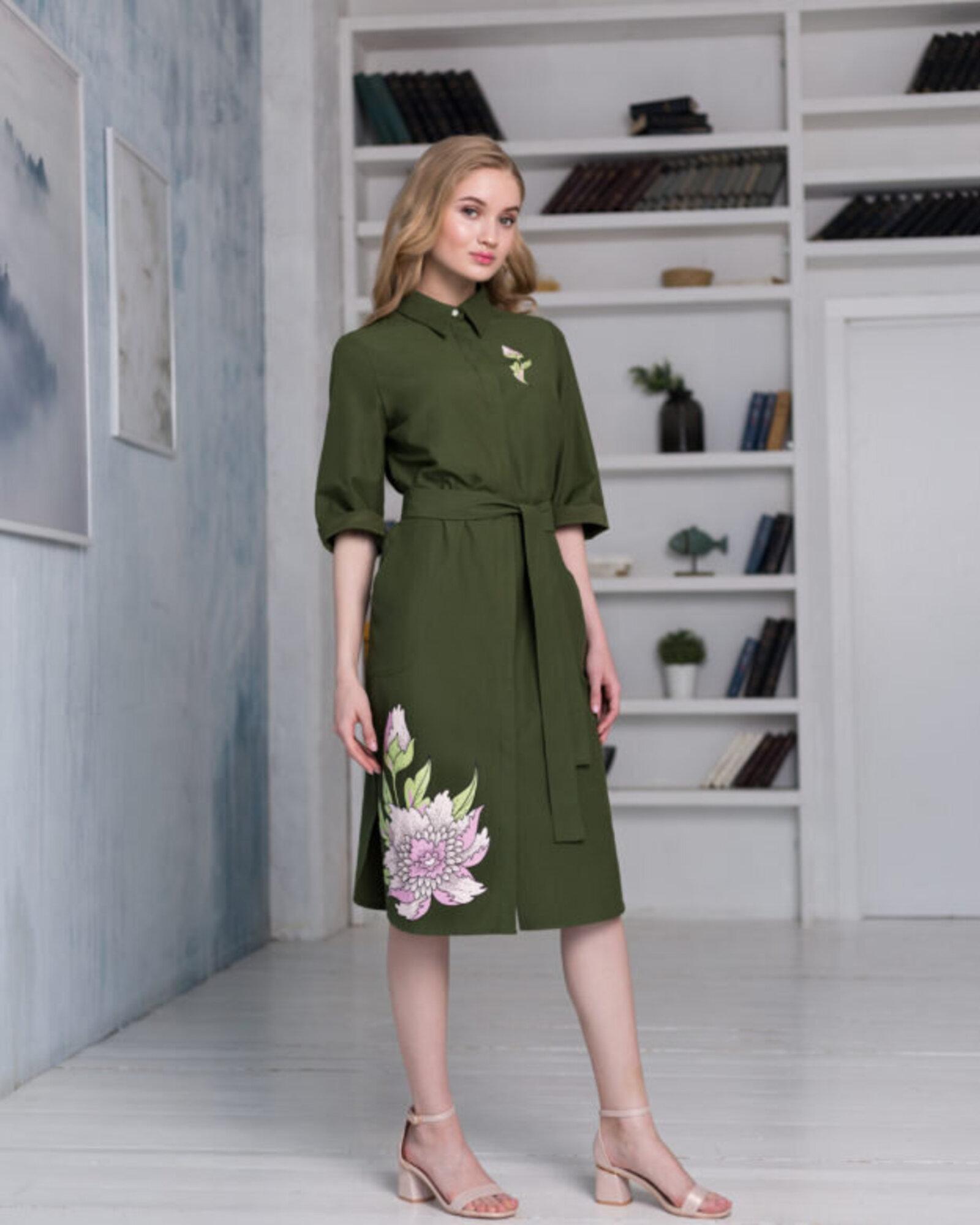 "Платье-рубашка женское ""Пионы"""