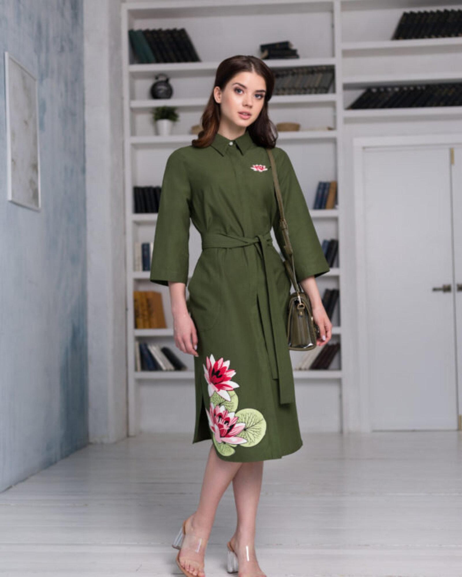 "Платье-рубашка женское ""Кувшинки"""