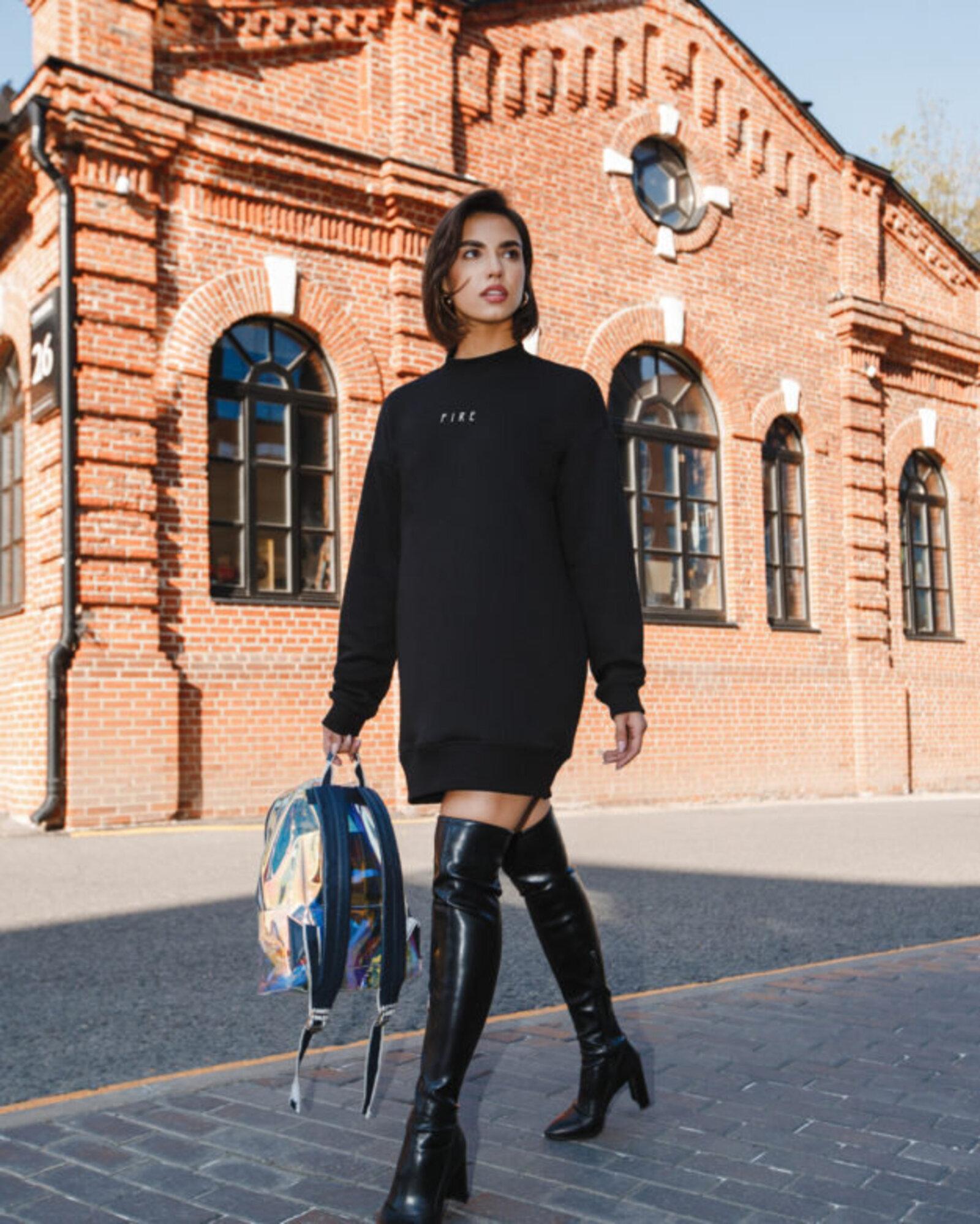 Платье-свитшот женское «Мини» черное