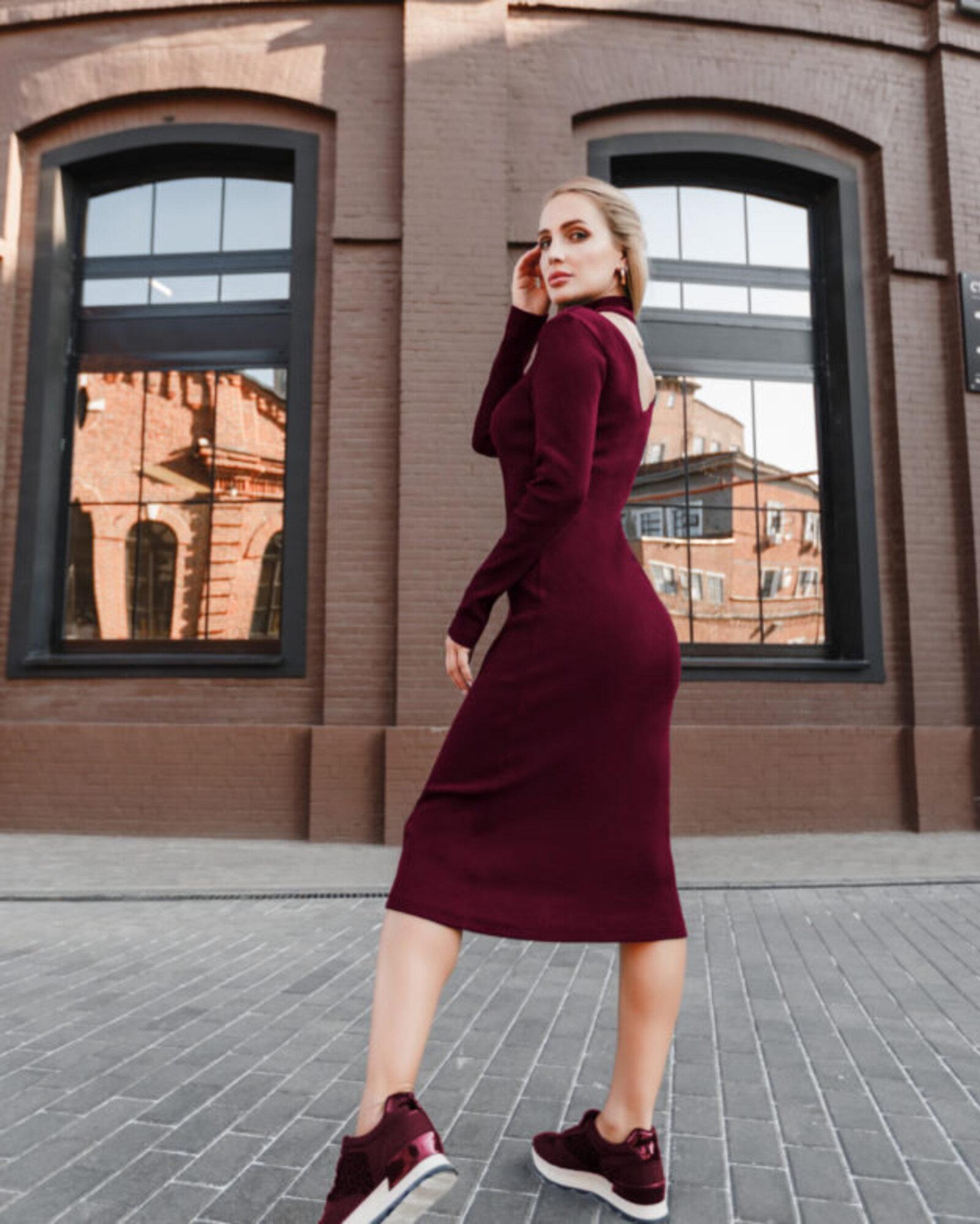 Платье женское «Slim» винное