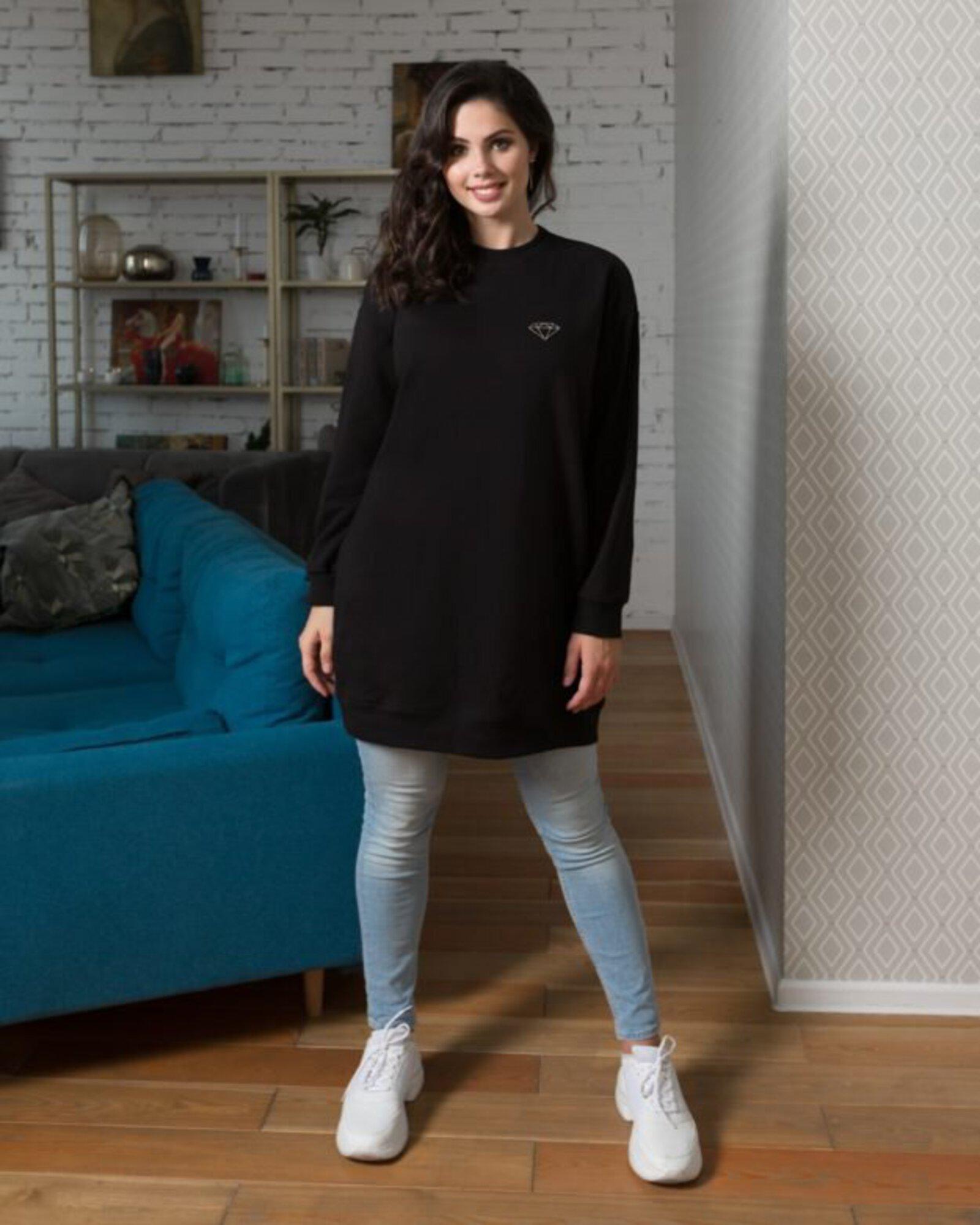 Платье-свитшот женское «Алмаз» черное