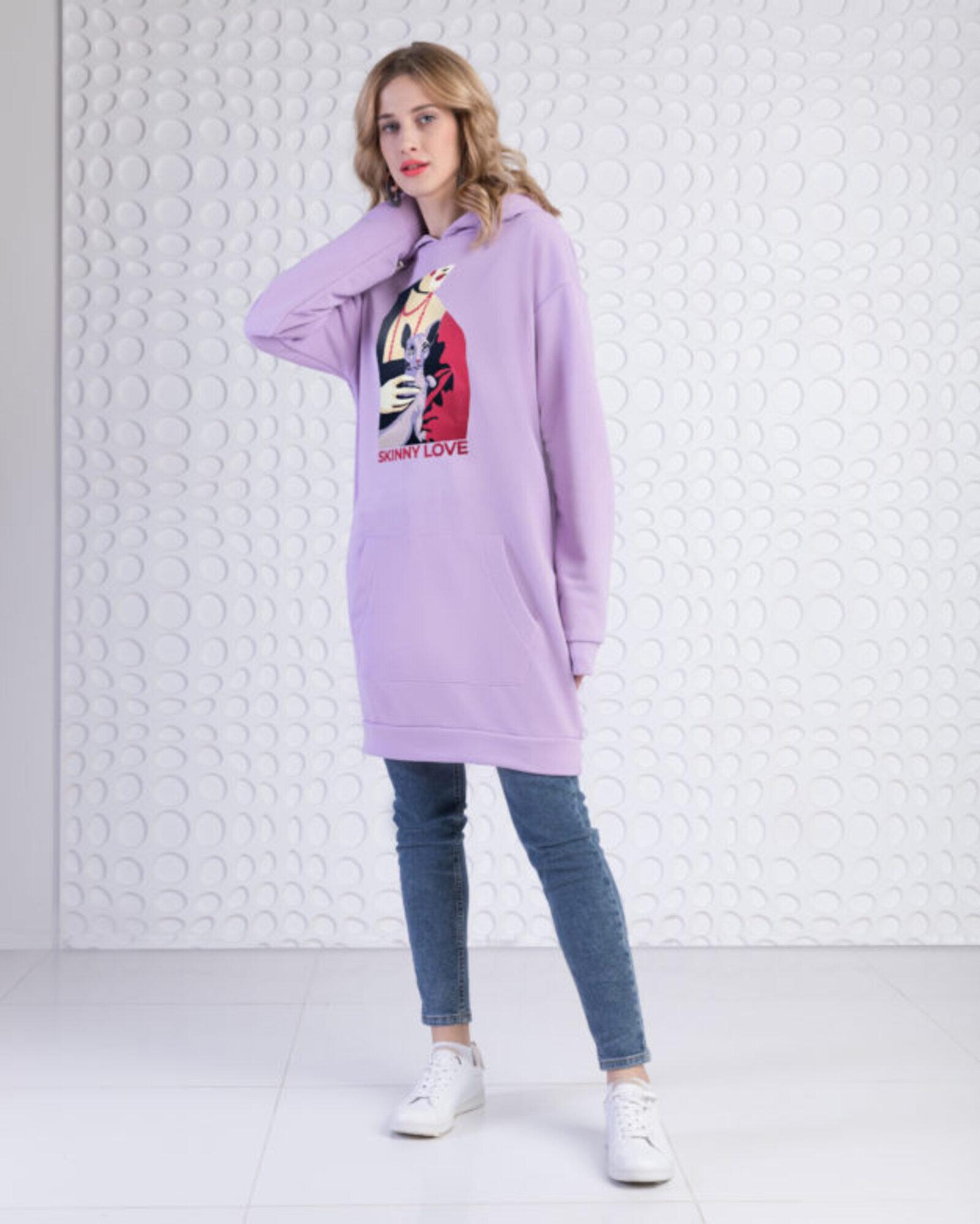 Платье-худи женское «Дама с котом» лавандовое