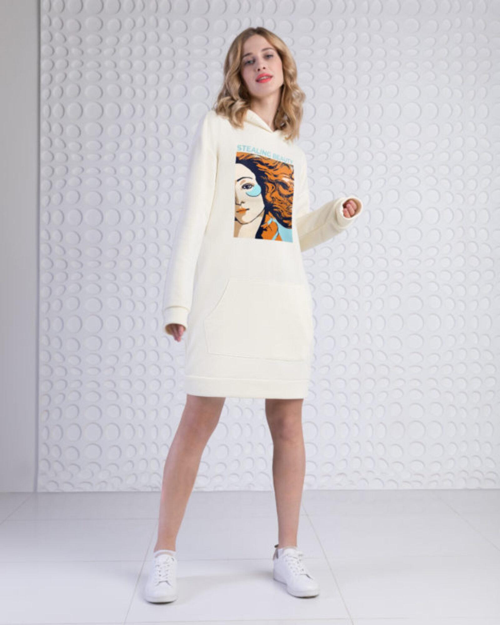 Платье-худи женское «Венера» экрю
