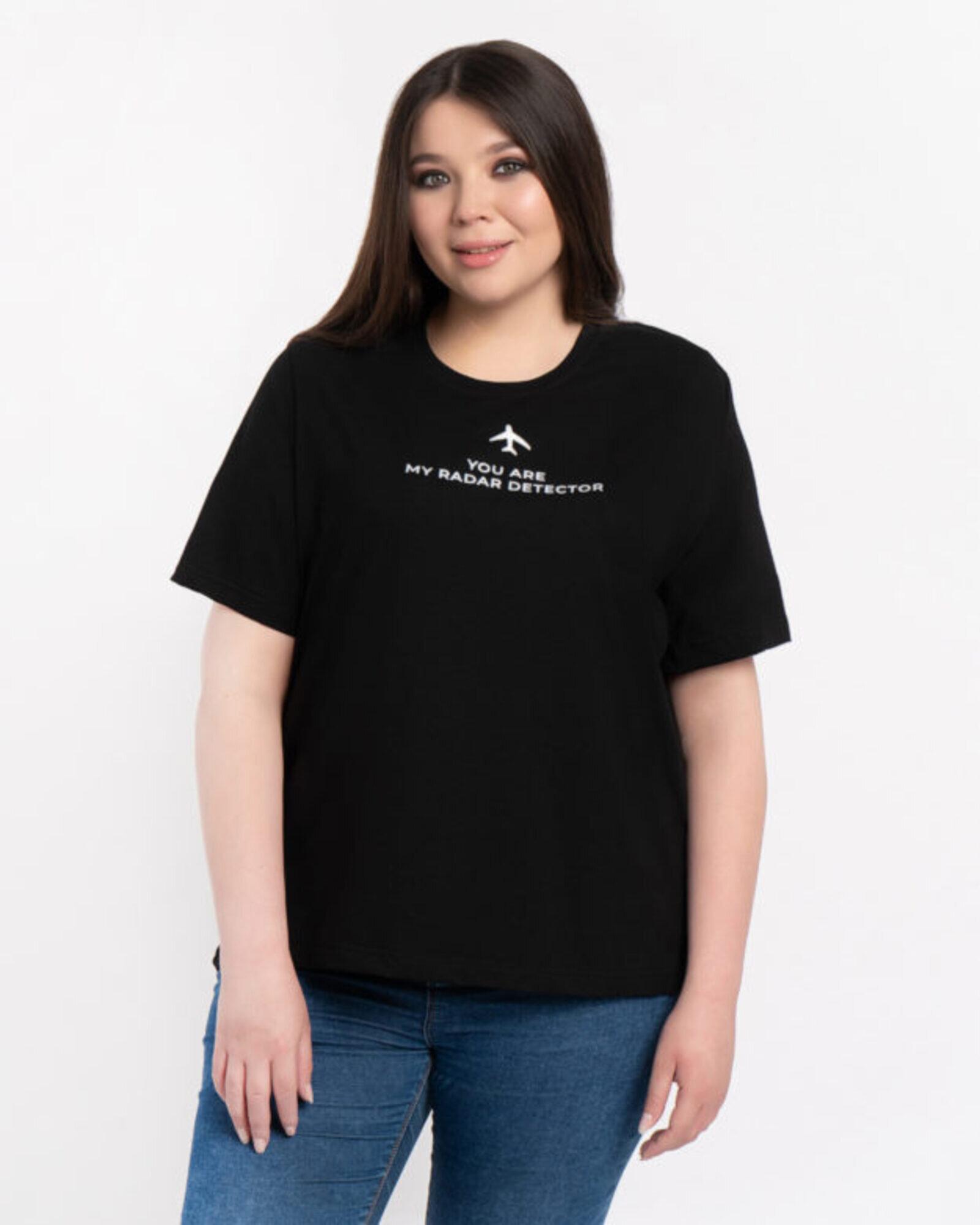 Футболка женская «Самолет» черная Plus size