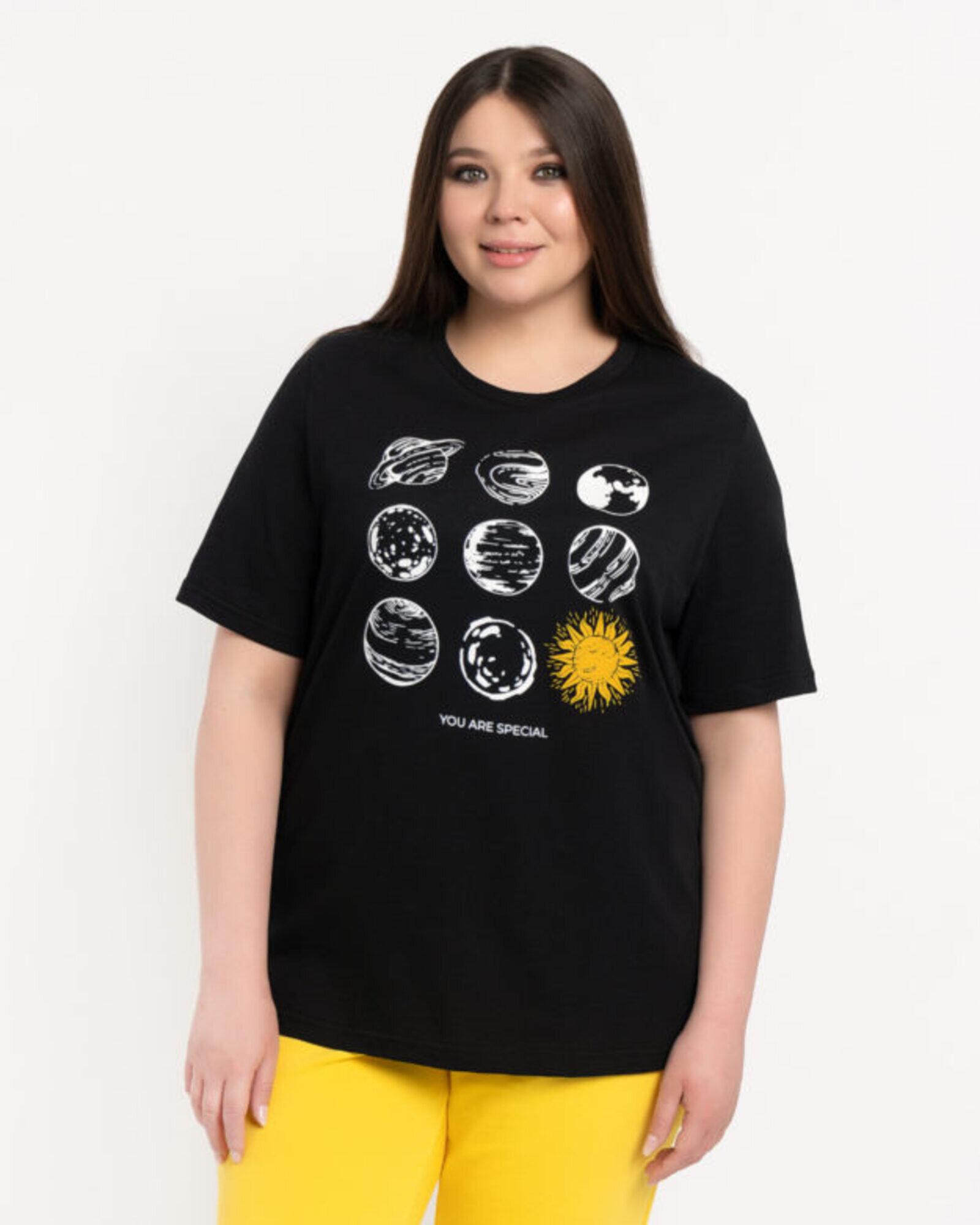 Футболка женская «Солнце» черная Plus size