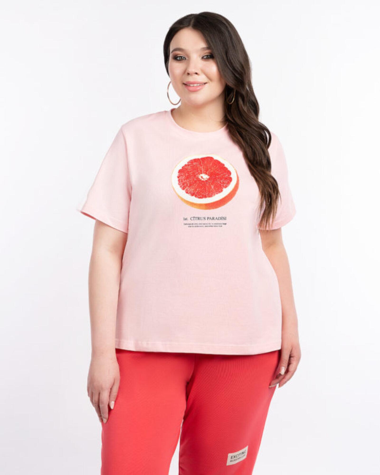 Футболка женская  «Грейпфрут» розовая Plus size