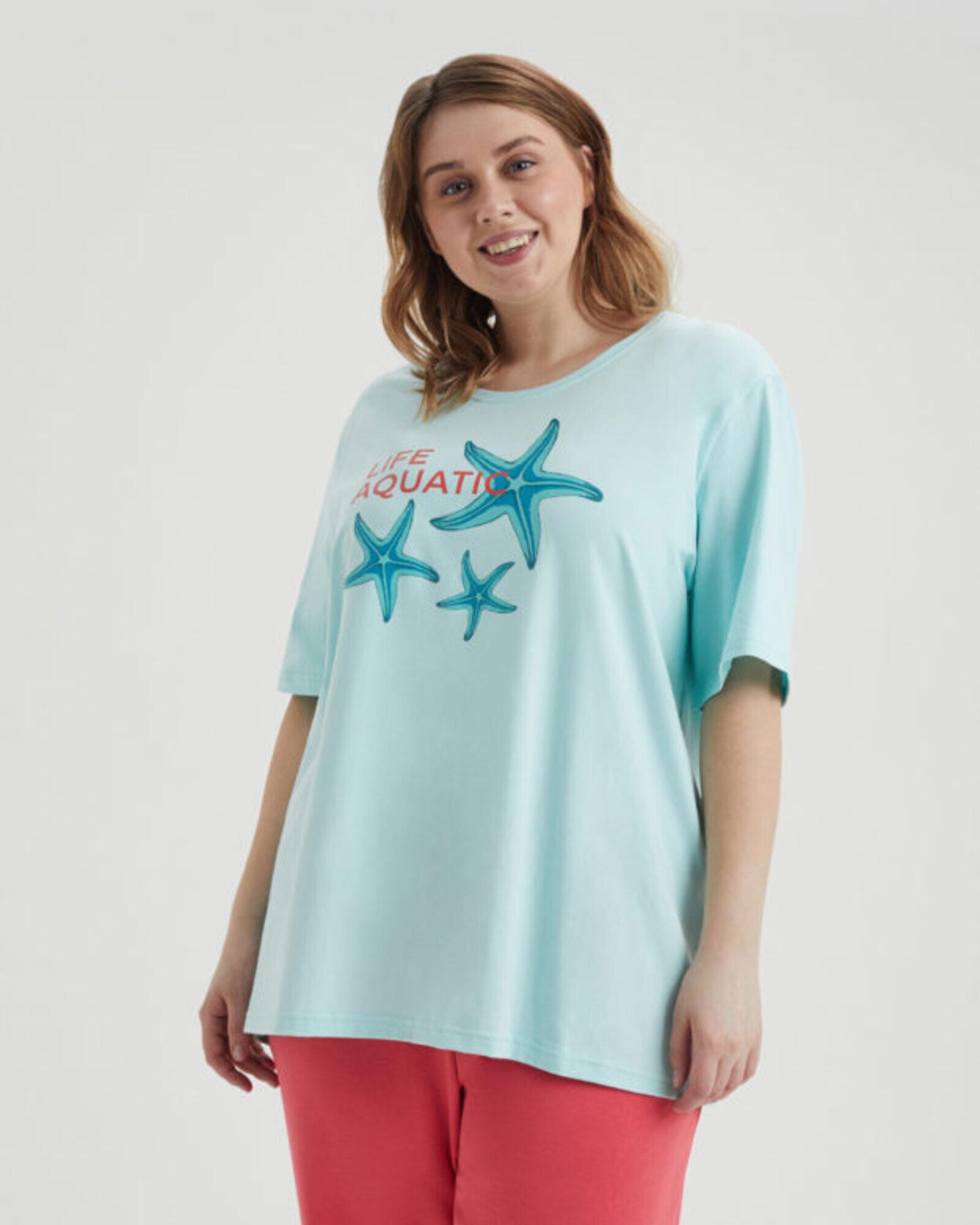 Футболка женская «Морские Звезды» ментоловая Plus size