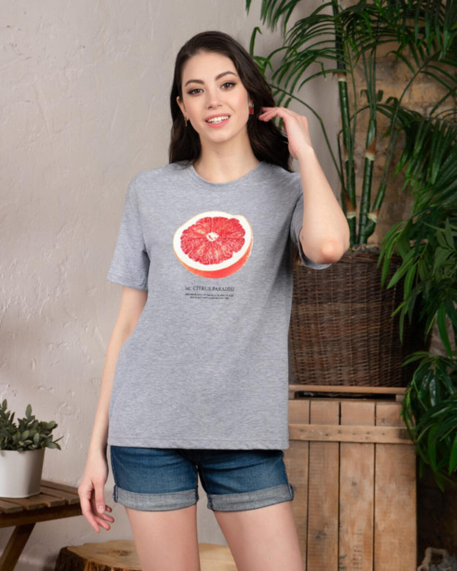 Футболка женская  «Грейпфрут» серый меланж