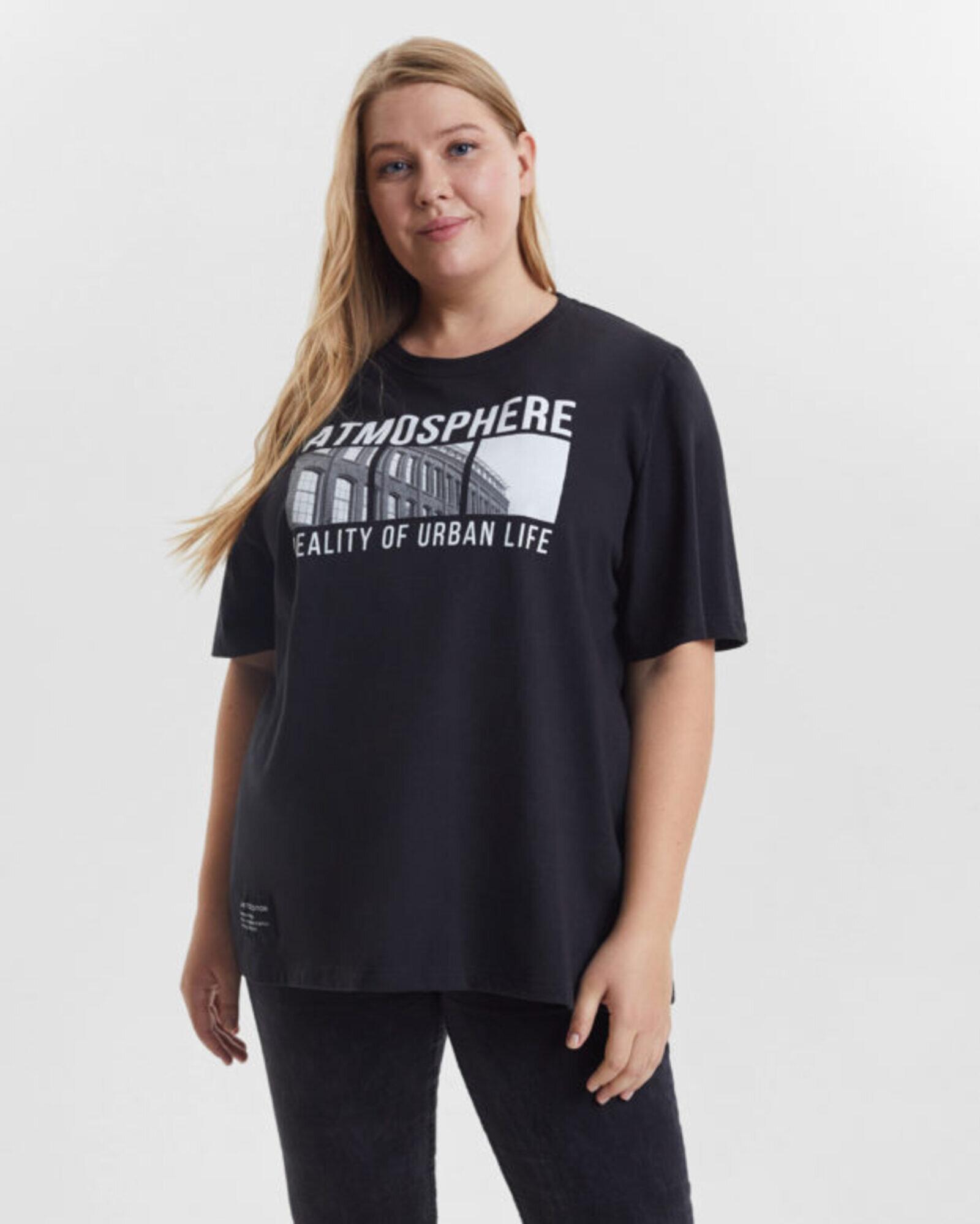 Футболка женская «Atmosphere» черная Plus size