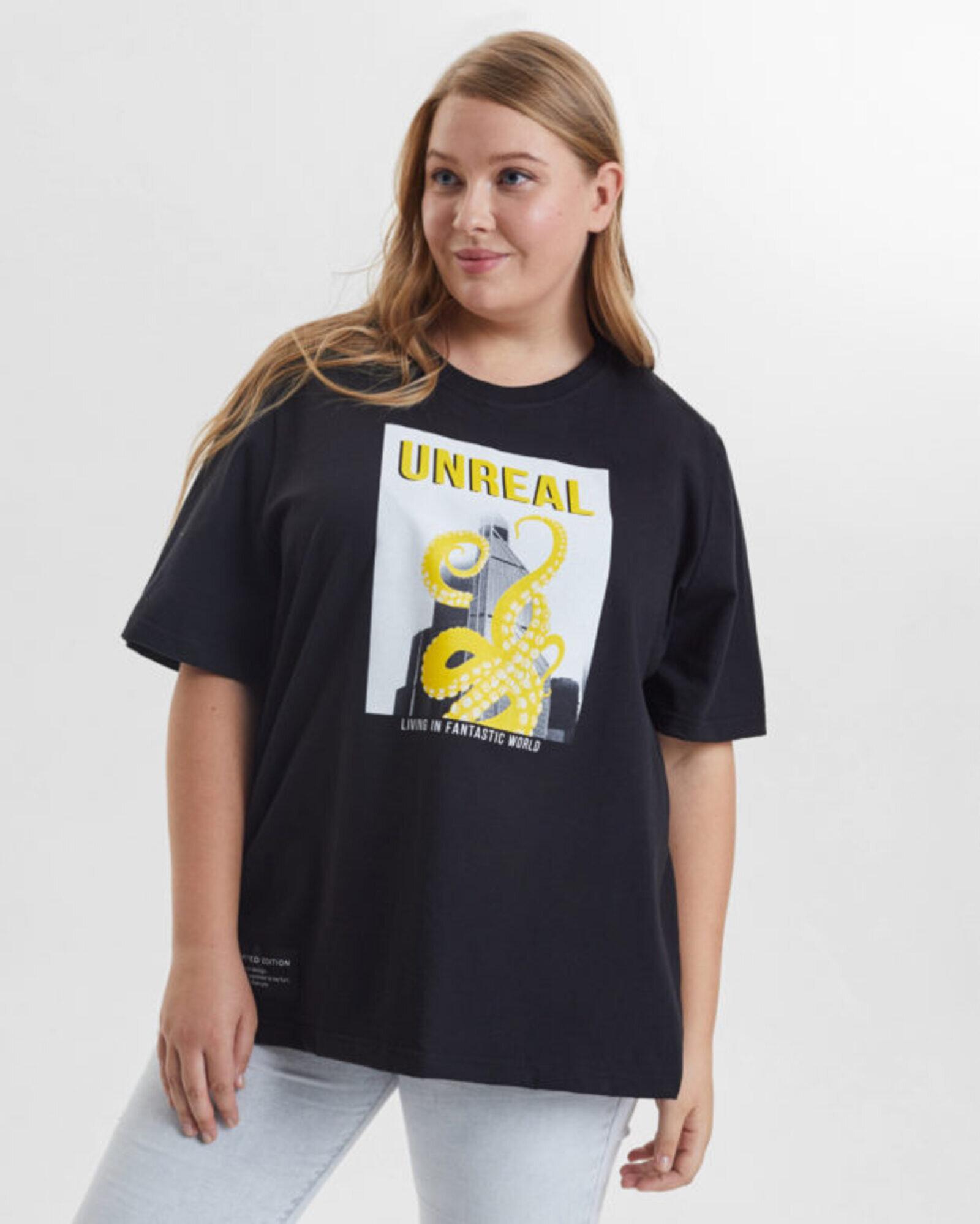 Футболка женская «Unreal» черная Plus size