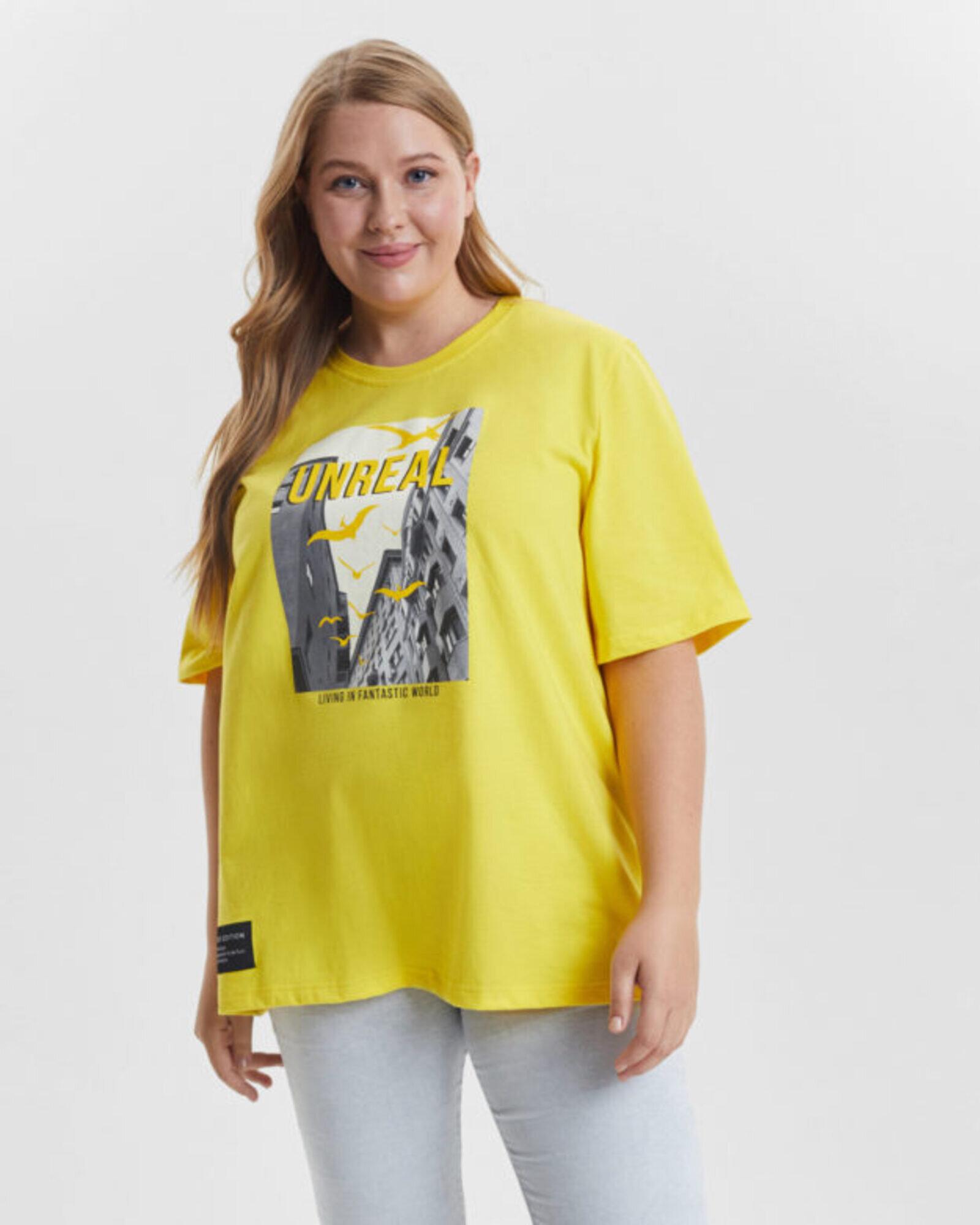 Футболка женская «Unreal» желтая Plus size