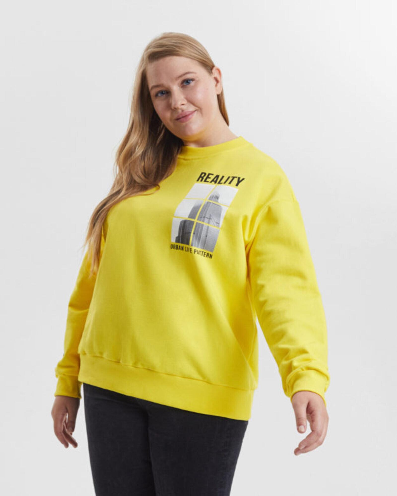 Свитшот женский «Reality» желтый Plus size