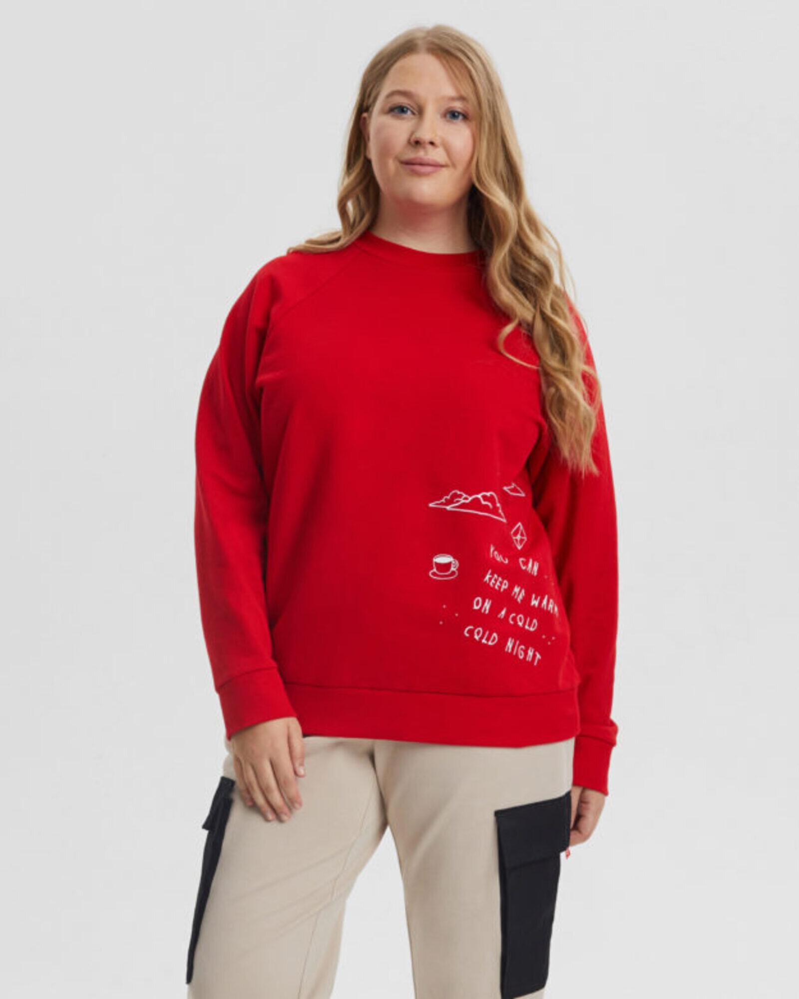 Свитшот женский «Love Tags» красный Plus size