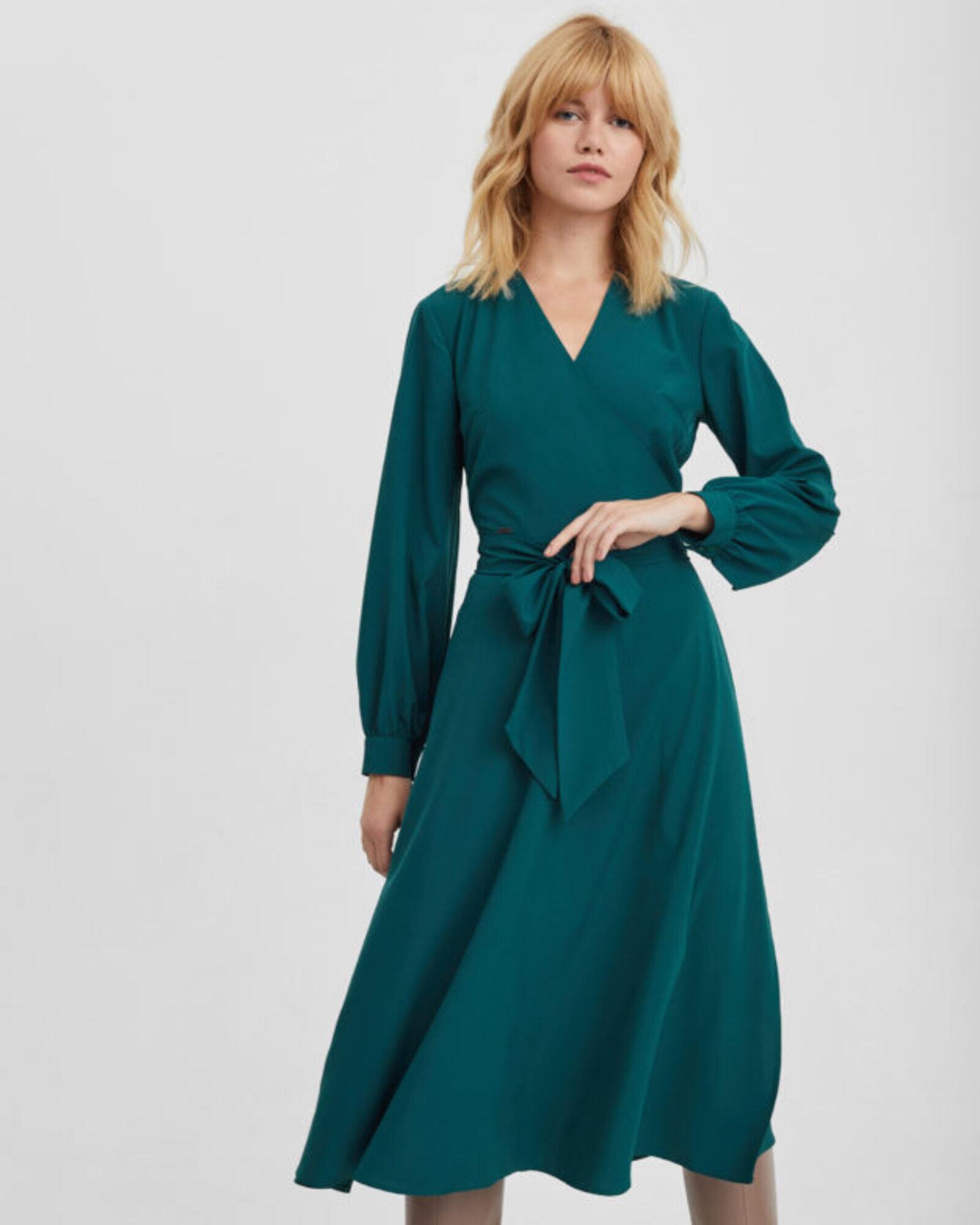 Платье женское с запахом изумрудное