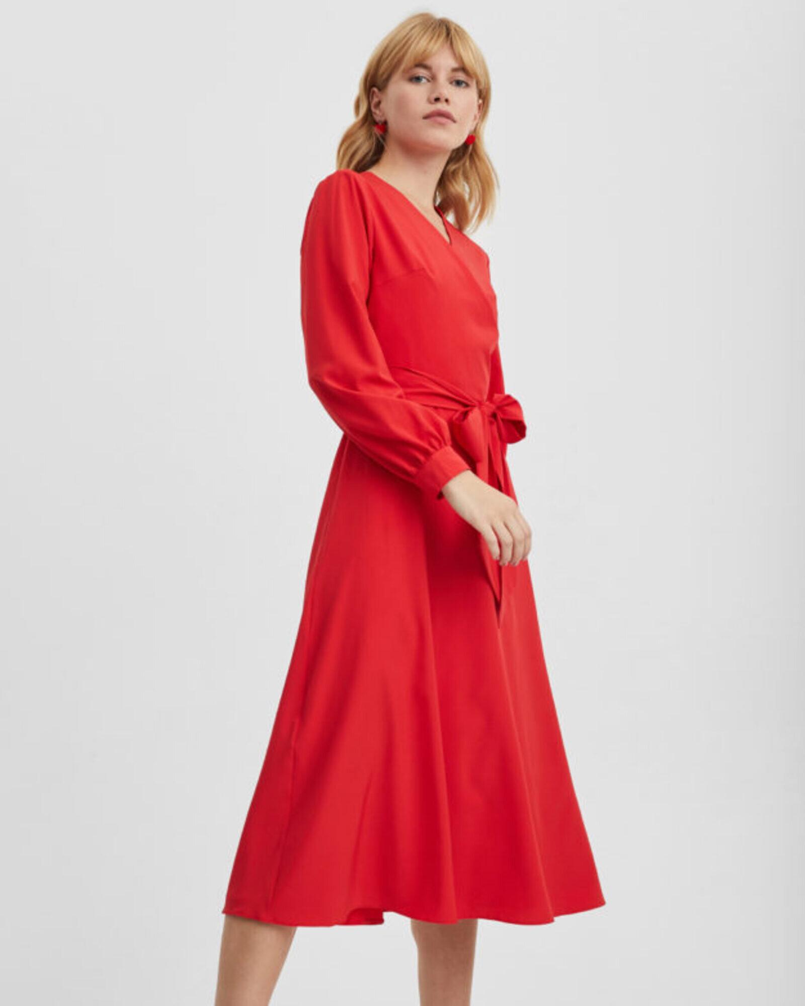 Платье женское с запахом красное