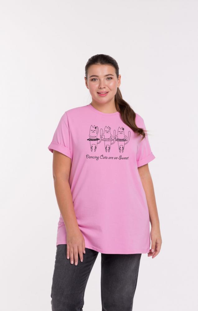 Футболка женская  «Кошки-балерины» розовая