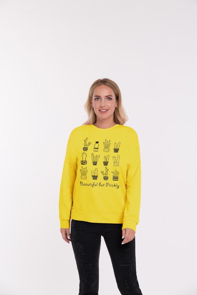 Свитшот женский  «Кактусы» желтый