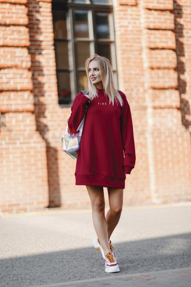 Платье-свитшот женское «Мини» винное