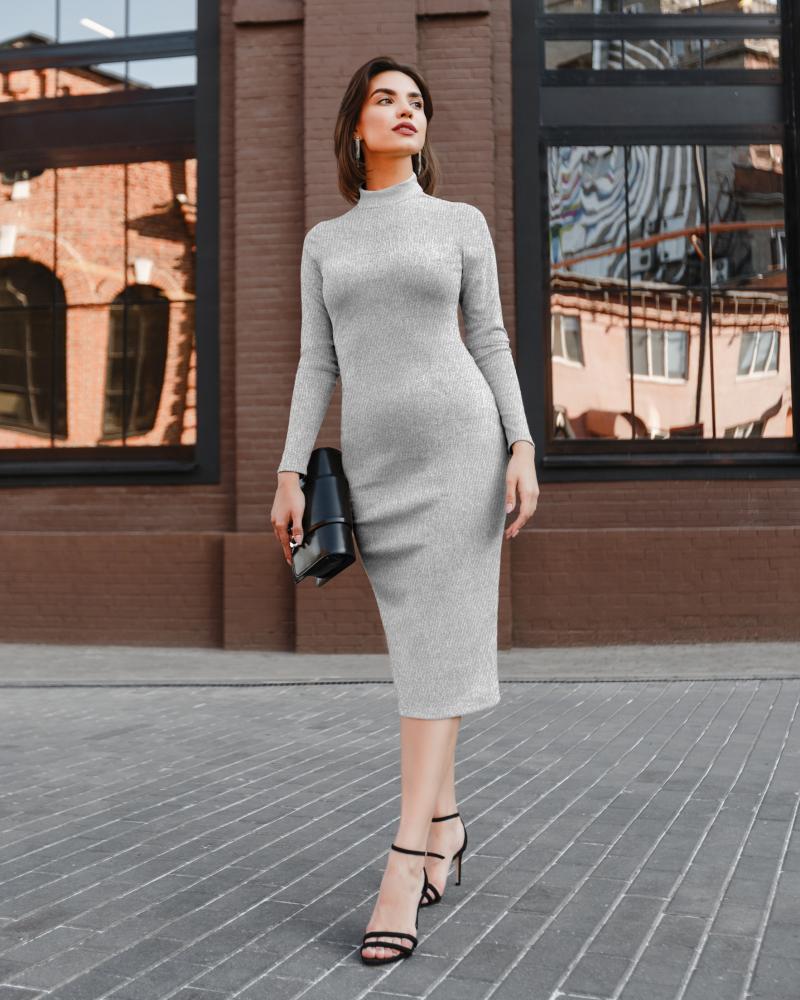 Платье женское «Slim» серебряное