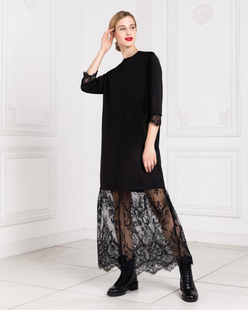 Платье-свитшот с кружевом