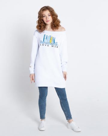 Платье-свитшот женское «Love MSK» белое