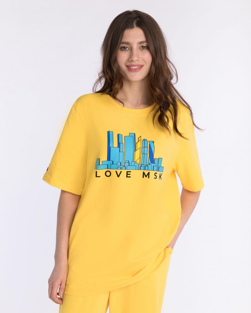 Футболка женская «Love MSK» желтая