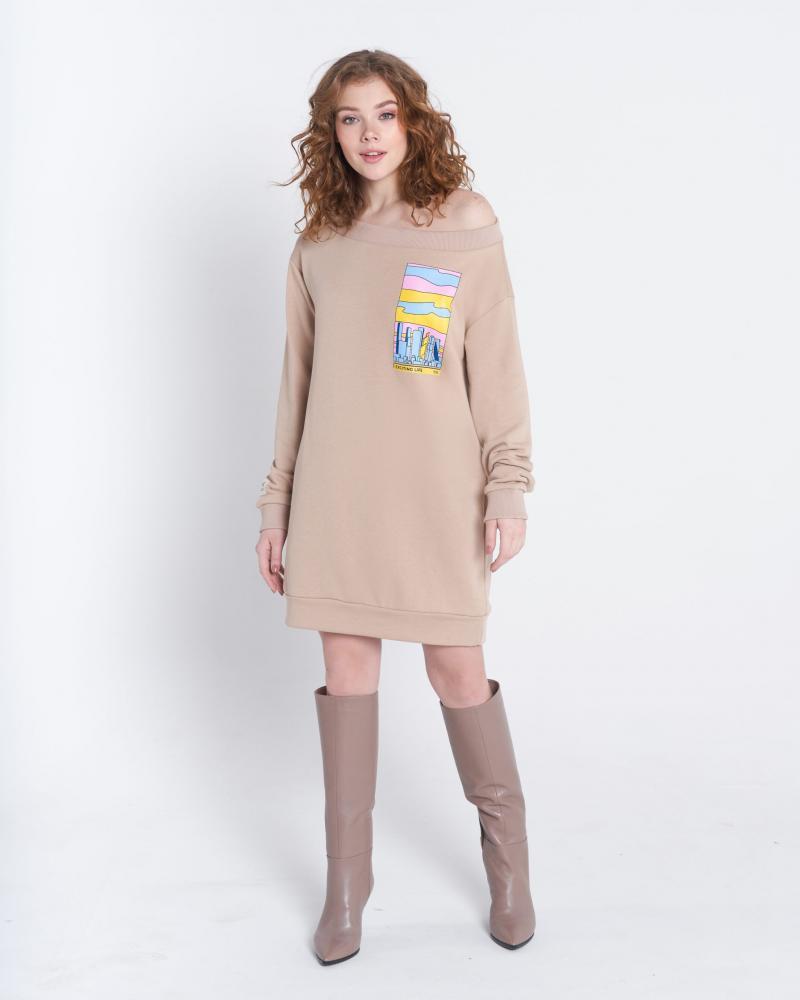 Платье-свитшот женское «Москва-Сити» бежевое