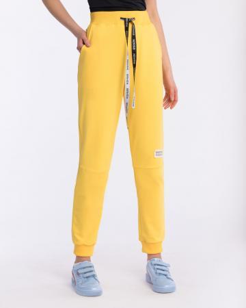 Брюки женские с шевроном желтые