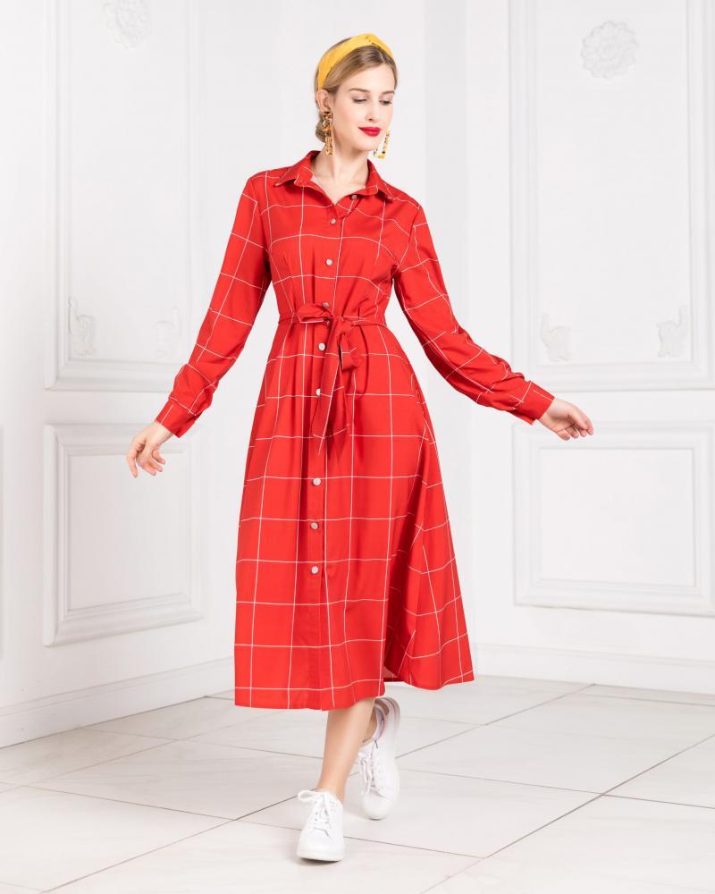 Платье-рубашка женское в клетку красное