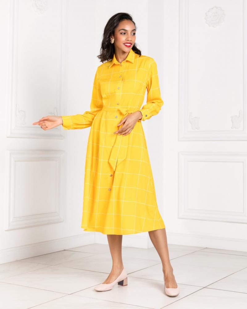 Платье-рубашка женское в клетку горчичное