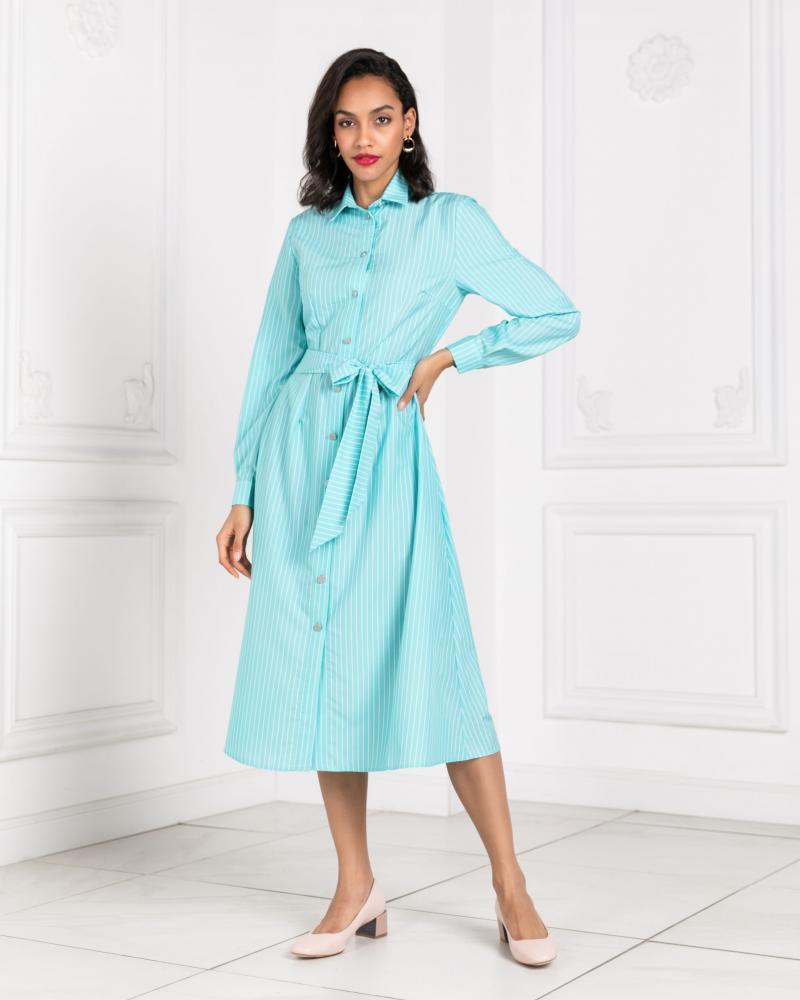 Платье-рубашка женское в полоску ментоловое