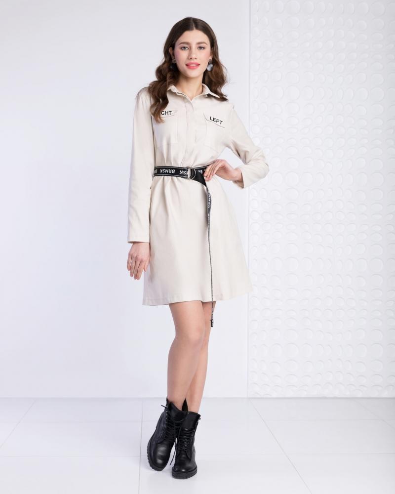 Платье-рубашка с поясом бежевое