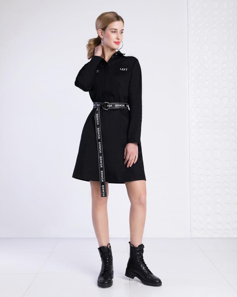 Платье-рубашка с поясом черное