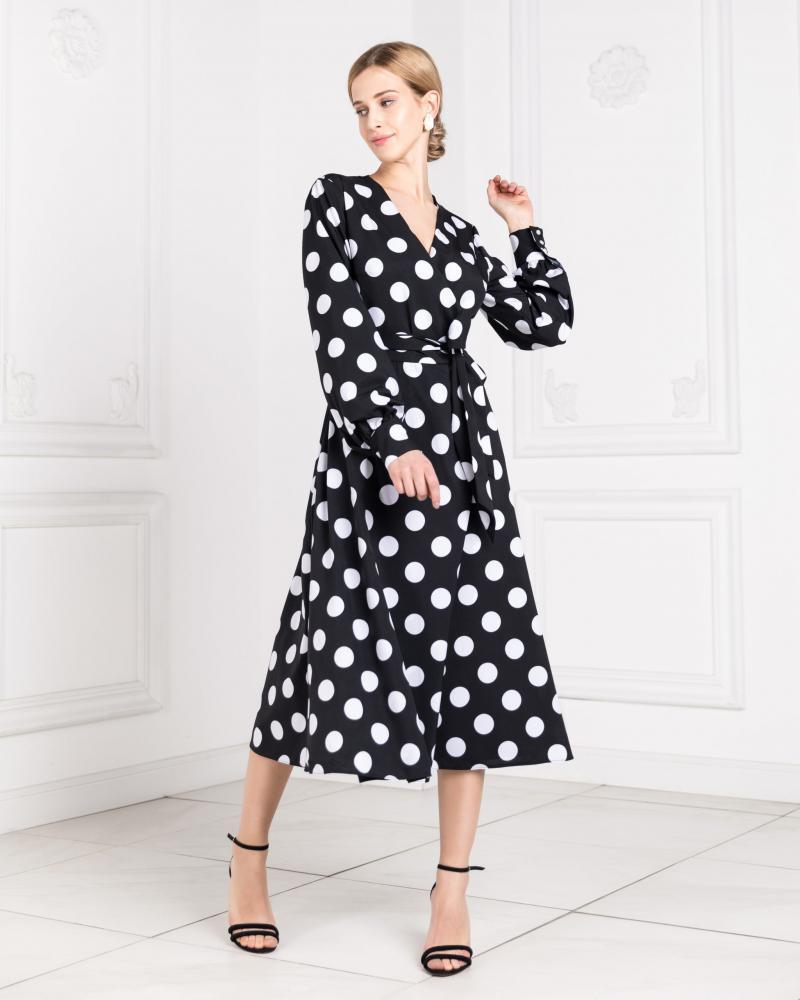 Платье с запахом женское в горох черное