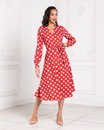 Платье с запахом женское в горох красное