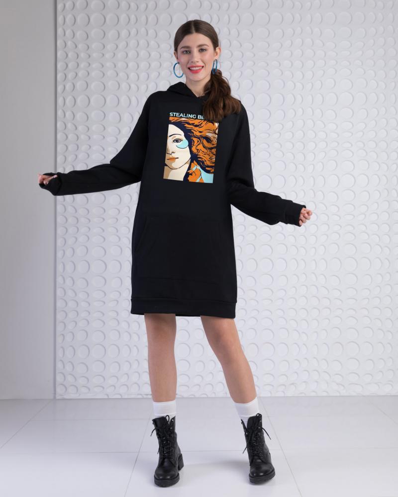 Платье-худи женское «Венера» черное