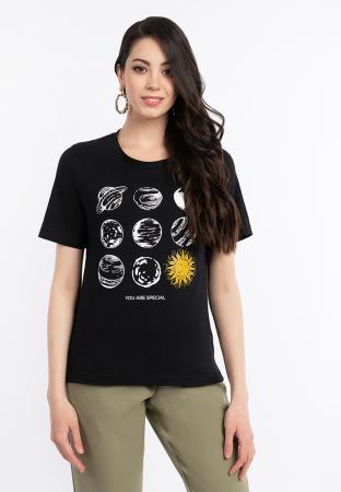 Футболка женская «Солнце» черная