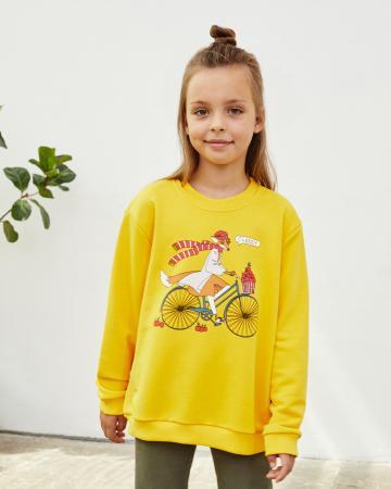 Свитшот детский  «Лиса на велосипеде» горчичный