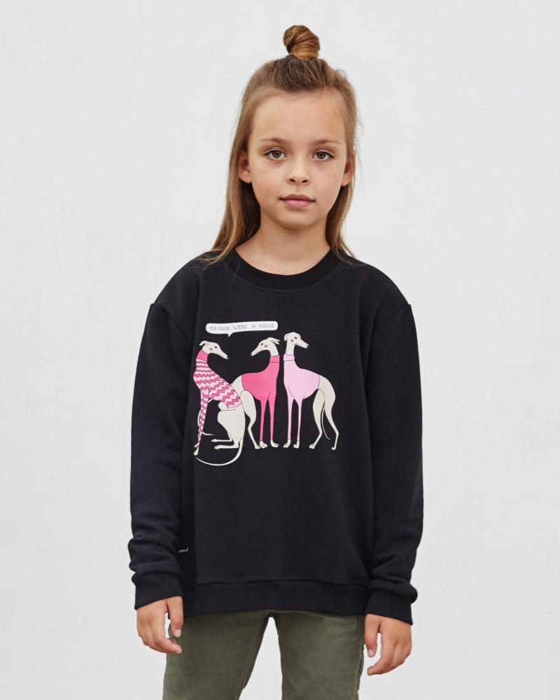 Свитшот детский «Левретки Vogue» черный