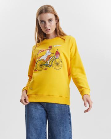 Свитшот женский  «Лиса на велосипеде» горчичный