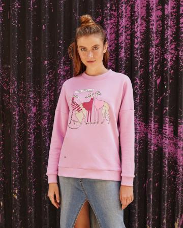 Свитшот женский «Левретки Vogue» розовый