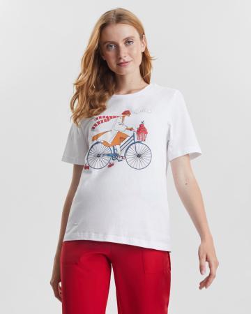 Футболка женская  «Лиса на велосипеде»
