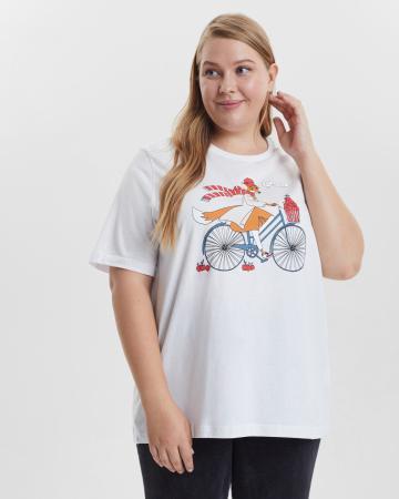 Футболка женская  «Лиса на велосипеде» Plus size