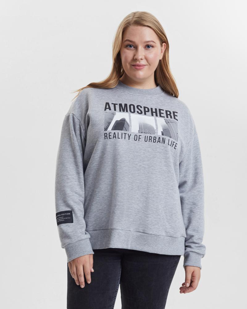 Свитшот женский «Atmosphere» серый меланж Plus size