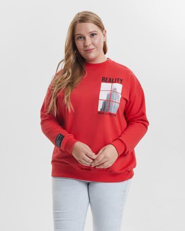 Свитшот женский «Reality» красный Plus size
