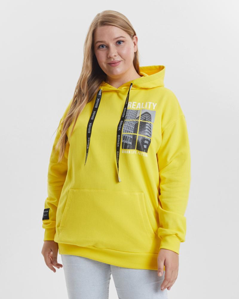 Толстовка женская «Reality» желтая Plus size