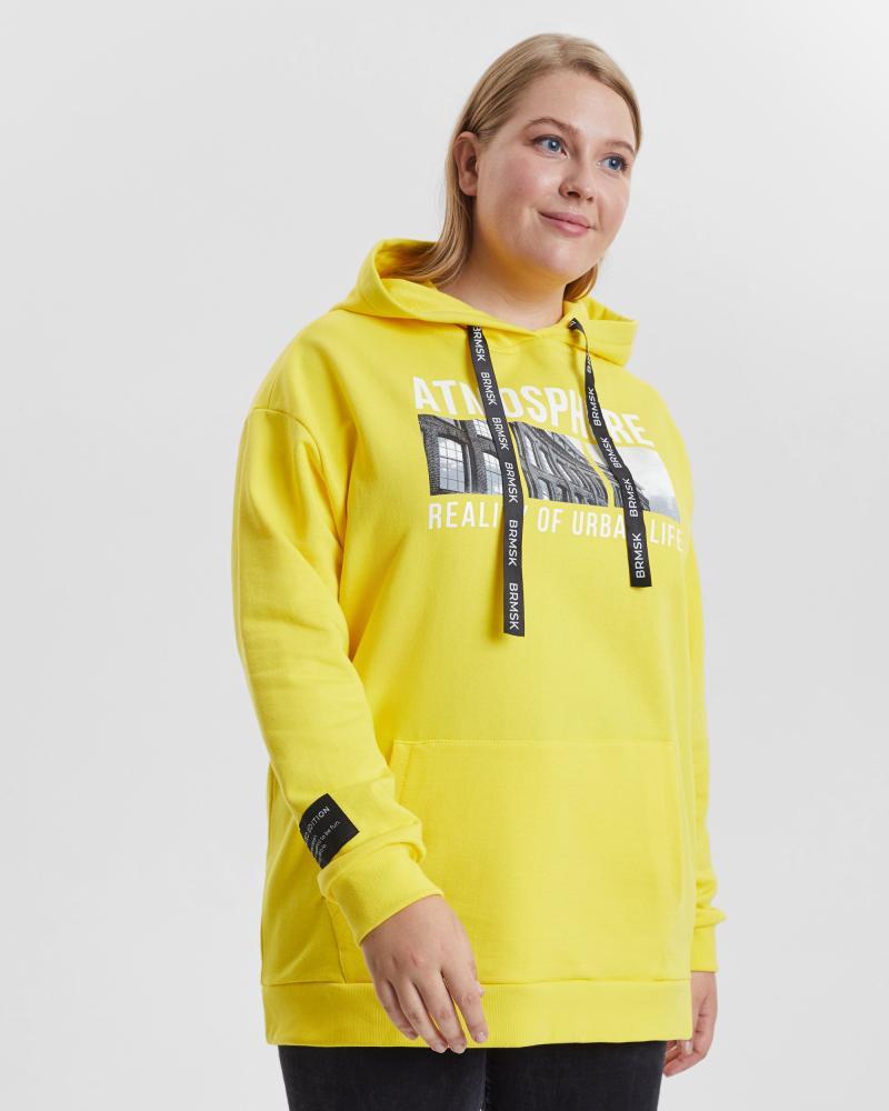 Толстовка женская «Atmosphere» желтая Plus size