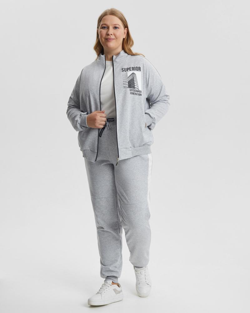 Спортивный костюм женский «Superior» серый Plus size