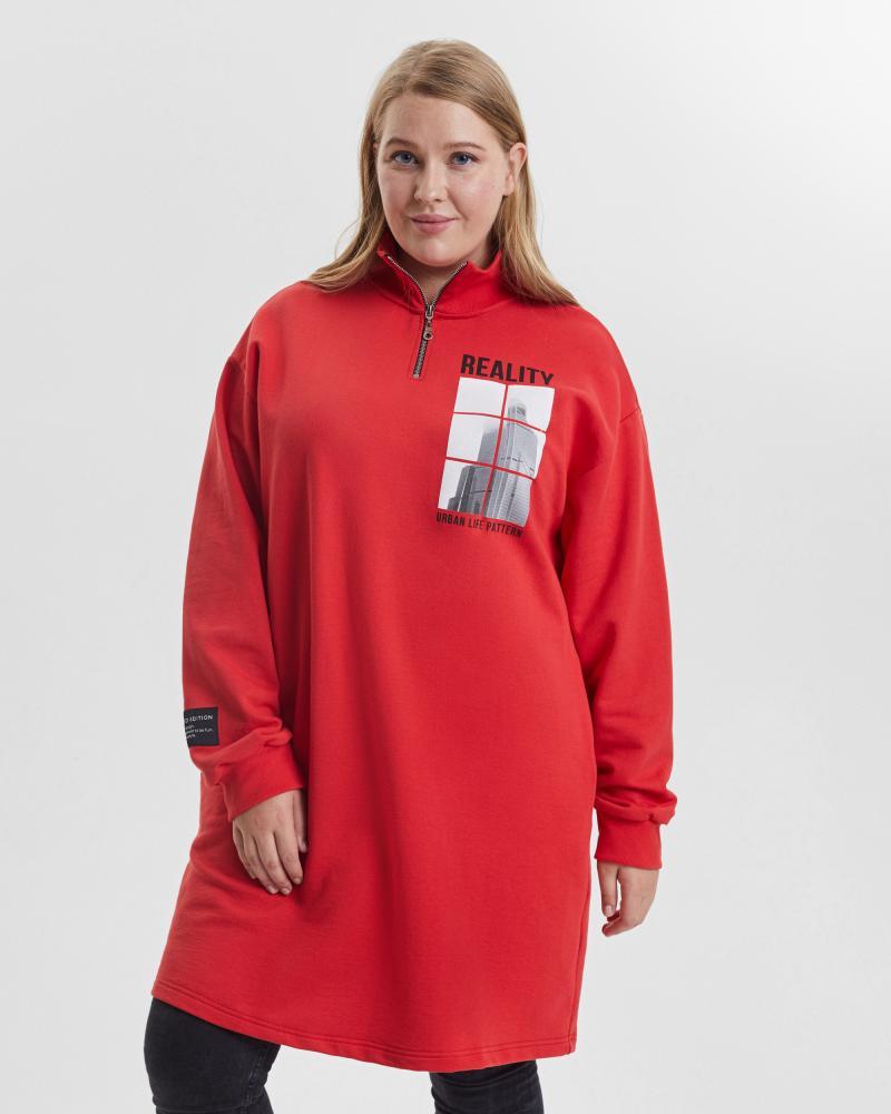 Платье женское «Reality» красное Plus size