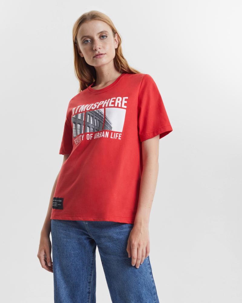 Футболка женская «Atmosphere» красная